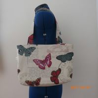 Tote Bag, Hand Bag, Shoulder bag ,Every day Bag in Cotton Fabric with Butterfies