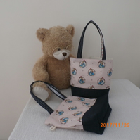 Little Girl's Peter Rabbit Mini Tote Bag Toy Bag in Cotton And Dark Demin Fabric