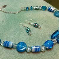 Blue and white glass beaded chunky necklace and earring set