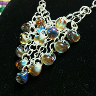 two tier glass teardrop cascade necklace with hand linked chain