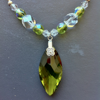 olive green swarovski pendant and beaded necklace and earring set