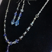 purple and blue swarovski crystal and haematite heart necklace and earring set