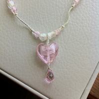 Pale pink heart and crystal teardrop necklace and earring set