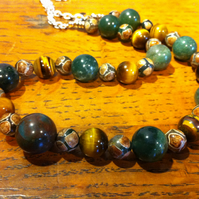 green agate, tiger eye and Tibetan dZi bead necklace