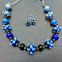 blue shades in glass handmade lampwork glass necklace set