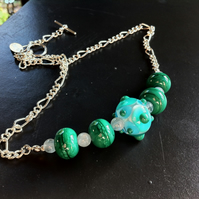 green and teal blue lampwork glass bead and aquamarine necklace and earring set
