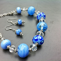 lampwork glass periwinkle blue spotty and swirled bead necklace and earring set