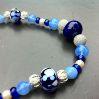 cobalt blue lampwork beaded necklace