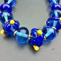 dark blue flower bead lampwork glass necklace