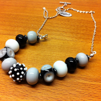 lampwork glass beaded necklace in black, white and greys; monochrome