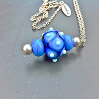 blue and black bumpy spotty handmade lampwork glass beaded pendant