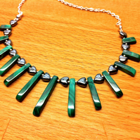 green malachite and haematite semi precious stone fan necklace
