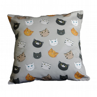 Cat Face Cushion Cover - Grey