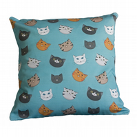 Cat Face Cushion Cover - Sky-blue