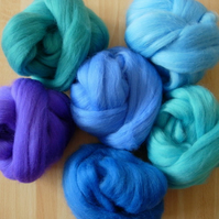 Merino Tops : Aqua Blues & Lilacs