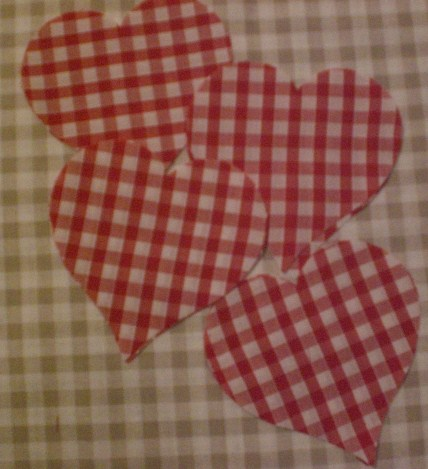 "8 x 4"" Cut out fabric cotton Hearts, Red Gingham 10cm"