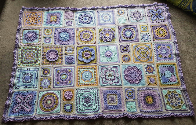 Crochet Sampler Blanket in Lilac & Blue