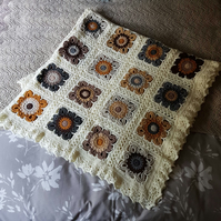 Neutral Flowers Crochet Blanket or Throw