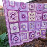 Purple Dreams Crochet Sampler Blanket or Throw