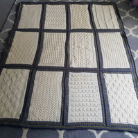 Crochet Sampler Blanket in Ivory, Blue Slate & Lime