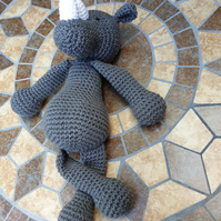 Grey Crochet Rhino stuffed animal toy