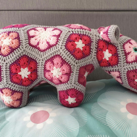 Crochet Pink African Flower Hippo stuffed animal toy