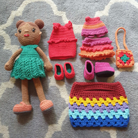 Crochet Doll with clothes and shoes for dressing up
