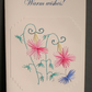 Greetings card,Hand embroidered, Warm wishes,Flowers and butterfly embroidery