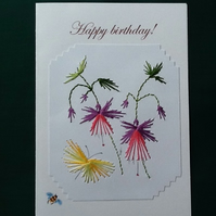 Fuchsia and butterfly, Embroidered, Personalised card,Happy birthday, R 22