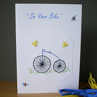 Penny farthing,'On Your Bike',Greetings,Hand embroidered, Bicycle,R 51