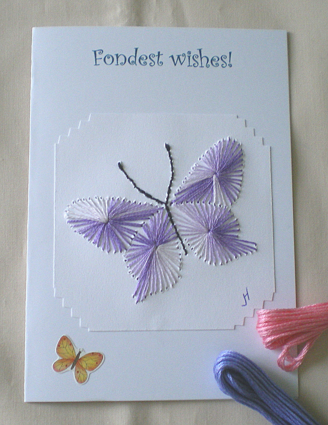 Personalised  embroidered card, Fondest Wishes, Butterfly, White card,R 42