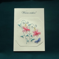 Warm wishes,Hand embroidered card,Flowers and butterfly embroidery, R 26