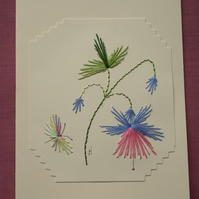 Fuchsia,Embroidered card,Hand embroidery, Floral and butterfly, left blank, R 38