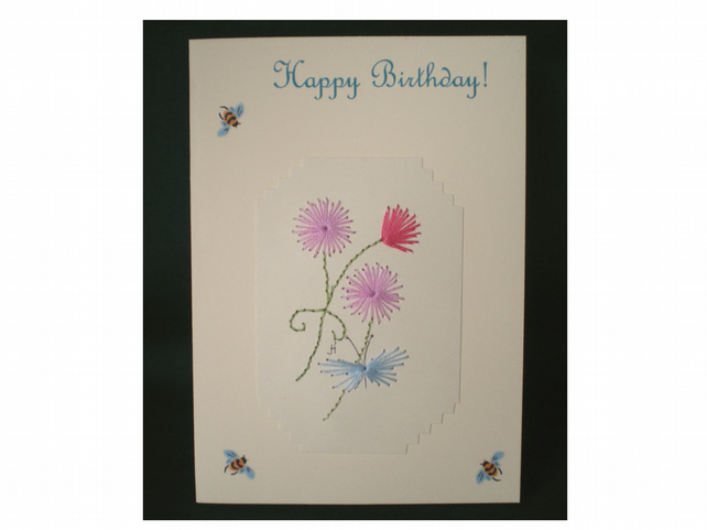 Happy Birthday,Hand embroidery, Three little pom pom flowers and butterfly,R 63