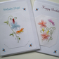 Two Hand embroidered cards,Colourful designs, and painted bees, R 66
