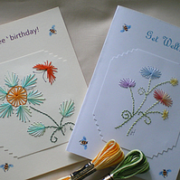 Two Hand embroidered cards,Floral designs, Painted bees,Get Well, Butterfly R 68