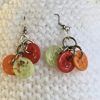 SALE..Recycled earrings,Button earrings,Drop earrings,Recycled buttons