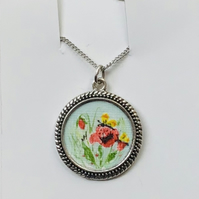 Poppy pendant,Hand painted poppies,Miniature painting,Poppy necklace