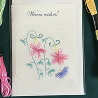 Embroidered card,Embroidery,Blank card,Greetings card,Hand sewn card,Flower card