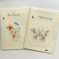 Embroidered card,Embroidery,Blank card,Hand sewn card,Flower cards