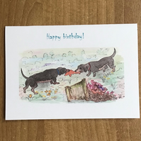 Puppies card, Hand painted, Happy birthday,Water colour,Print from original
