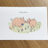 Piggy card, Hand painted,Kiss kiss,Water colour,Print from my original painting,