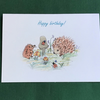 Hedgehog card, Hand painted, Happy birthday,Toadstool, Water colour,