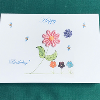 Birthday card,Water colour,Print from my original painting,Daisy flowers,