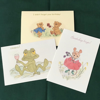 Note cards,Water colour,Prints from my original paintings,Frog,Teddy,Mouse