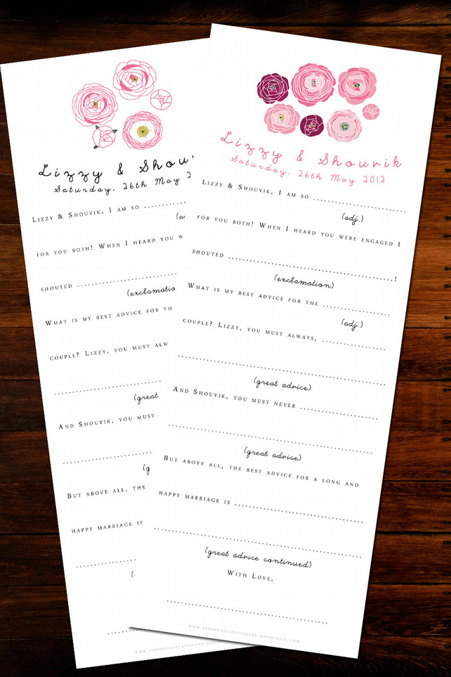 Rose Wedding AdLib Cards - 50 pack - Alt. Guestbook or Entertainment!