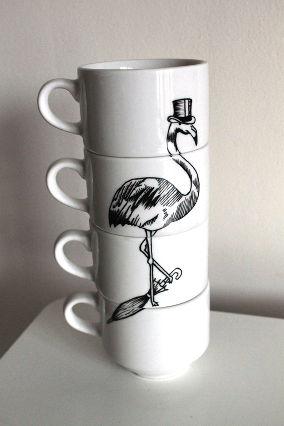 Dapper Flamingo stacking teacups