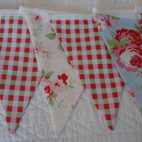 SALE ... Floral white, pink, blue & green bunting