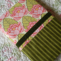 Fabric Covered Notebook - Cream/Green/Pink