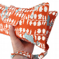 Nappy and Wipes Wristlet, Clutch - Orange, Turquoise & White